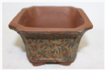 Bonsai Pot, Square, 12cm, Brown, Unglazed, Motif